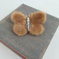 Vintage 50s Real Fur Butterfly Pin Brooch Pearl Blue Rhinestone Mink 1950s