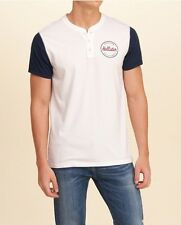 Hollister Men's White Top/blue Sleeve Tshirt, Small, Brand New With Tags