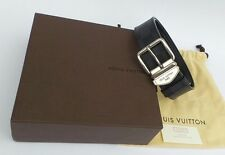 LOUIS VUITTON Sydney Damier Graphite Gray Black Silver Buckle Belt 85 34 w Box