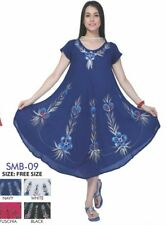 Ladies NEW Summer 100% Rayon Celebrity Swing Dress Tunic Kaftan Free Size