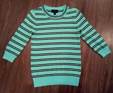 J Crew Italian 100% Cashmere Seafoam Army Green Striped Sweater XS