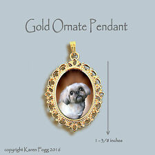 Lhasa Apso / Shih Tzu Dog - Ornate Gold Pendant Necklace