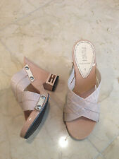 Preowned Authentic Fendi Womens Beige Heel  F Logo  Wedge Sandals Shoes 35!!! RC
