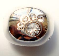 EUROPEAN SOLID 925 STERLING SILVER PAW PRINTS AUSTRIAN CRYSTAL BEAD for Bracele