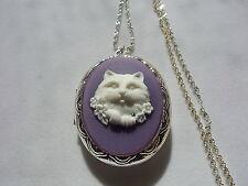 KITTY CAT CAMEO LOCKET LARGE  (PURPLE-WHITE)