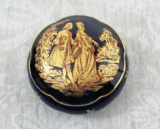 """Limoges Castel Cobalt Mon Amour Porcelain 2"""" trinket box - 22 k trim - France"""