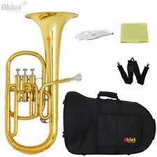 Aklot Intermediate Eb Alto Horn Gold Silver Plated Mouthpiece Piston with Case