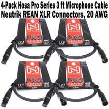 4-Pack Hosa Pro Series 3 ft XLR Microphone Cable Neutrik REAN Connectors HMIC003