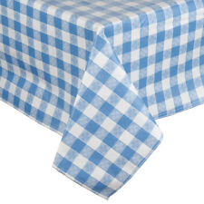 25 Yard Roll Blue and White Gingham Checked Vinyl Table Cover with Flannel Back 00004000