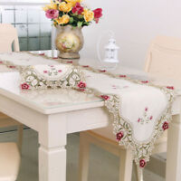 Embroidery Lace Floral Table Runner Tablecloth Cover Wedding Party Home Decor