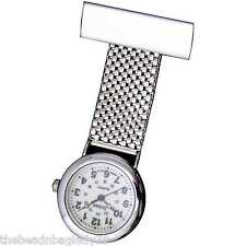 NEW FIRST HAND HEALTHCARE WATCH THERAPIST NURSE SILVER PLATED CHAIN MESH