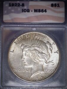 1922-S Peace Dollar ICG  MS64, Tougher Date, Light Gold Toning, Issue Free!!