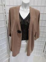 Women's Vixli  3X Hazel Brown 100% Cotton Soft Knit Fall/Winter Cardigan