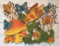 Vintage Homco Plastic Wall Decoration Frogs Butterflies Mushrooms