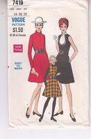 Vogue 7419 Fit Flare Dress Jumper 1960s Sewing Pattern Size 14 Uncut