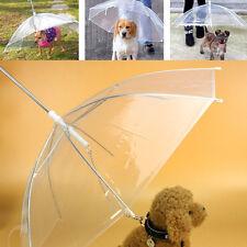Transparent Pet Dog Cat Umbrella with Built-in Leash Puppy Dry in Rain Snow #X