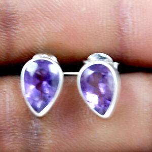 925 Sterling Silver Amethyst Handmade Earrings Xmas Gift Women ES-1118