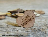 """100 qty 1"""" JUST MARRIED Wood Hearts Table Confetti Wooden Wedding Decor"""