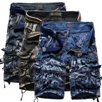 Summer Mens Casual Army Green Combat Camo Work Cargo Shorts Pants Trousers Blue