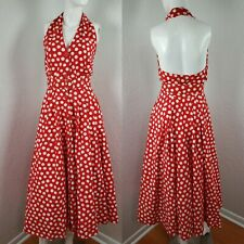 Sexy Vtg 80s does 50s Albert Nipon Red White Halter Button Down Dress Polka Dots
