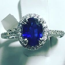 Royal Blue Sapphire & Diamond Ring In 14k White Gold 2.14 Carat Natural Gems New