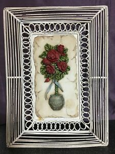Vintage Metal Framed Resin Picture Potted Rose Bush, Farmhouse Shabby Chic 10x13