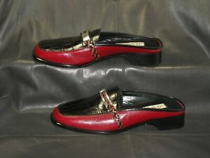 Brighton Jodi women's burgundy/black leather closed toe slide mule shoes size 8M