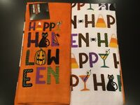 Set Of 2 Happy Halloween Cotton Terry Kitchen Dish or Hand Tea Bar Towels Cat