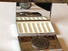 Luna  dr62   Fine English Pewter On Mirrored 7 Day Pill box Compact