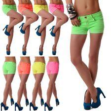 Damen Jeans Hose Hot Pants Hüftjeans kurze Shorts Hotpants neon Farben Neu XS-XL