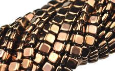 50 Bronze 2 Hole Czech Glass Flat Square Beads 6MM