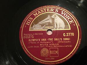 "MILIZA KORJUS ""Shadow Song"" (Dinorah)/""Olympia's Aria"" (Tales Of Hoffmann) 78rpm"
