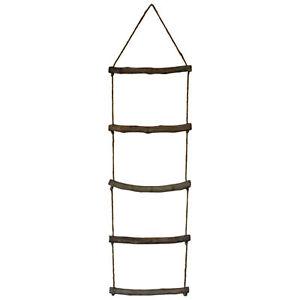 Originals Rustic Wooden Rope Ladder Hanging Towel Rail - Nautical Bathroom