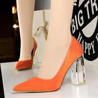 High Heels Pointed Toe Women's Ladies Court Shoe Wedding Clear Chunky Heel Sizes