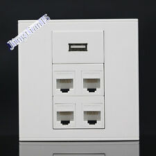 Wall Plate 5 Ports CAT5E RJ45 Network LAN + USB Port Wall Outlet Panel Faceplate