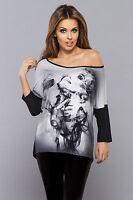 Haut top femme blouse casual manches longues à motifs VESTIVA 36 38 40 42 44