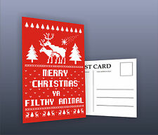 Funny Merry Christmas Ya Filthy Animal Home Alone Adult ReinDeer Gift Postcards