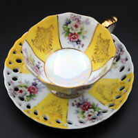 Vintage Yellow & White Pearl Iridescent Footed Floral Tea Cup and Saucer - Japan