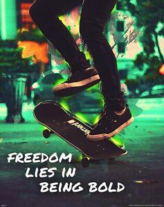 Skateboarding Freedom Motivational Poster Art Print Skateboard Kids Room Decor