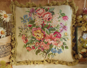 """ELEGANT Victorian Full Floral 18"""" ANTIQUE Needlepoint ThrowPillow Lily DaisyRose"""