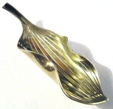 A MICHELSEN by G ENGEL Sterling Leaf Pin 1950s Denmark 3-D Curled Brooch Rougie