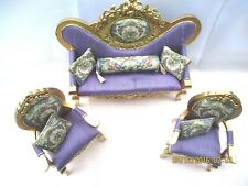 ARTISAN MINIATURE FRENCH BAROQUE SOFA  AND TWO CHAIRS FINISHED IN ANTIQUE GOLD