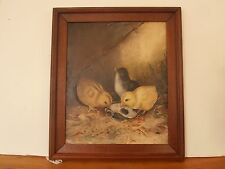 Antique folk art oil brd painting CHICKS eating from Oyster shell dated 1895 12""