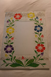 Superb Hand Crafted Mosaic Mirror With Flowers Color  60 x 40 Cm Wide