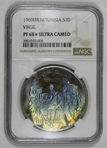 1969 Tunisia Silver Proof 1 Dinar NGC PF68* Ultra Cameo Star Colorful Toning ...