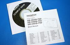 AUTHENTIQUE ORIGINAL OLYMPUS D-750 D-755 D-760 VR-340 VR-350 imprimé MANUEL & CD