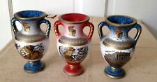 "LOT OF 3 SALOS VASES, HAND MADE IN GREECE, BLUE & RED, 4-1/2"" TALL"