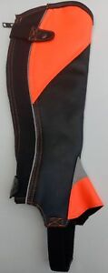 FLUORESCENT ORANGE SYNTHECTIC LEATHER HORSE RIDING HALF CHAPS