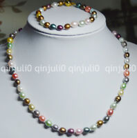 6-7mm Multicolored Genuine Freshwater cultured Pearl Necklaces Bracelets JN744
