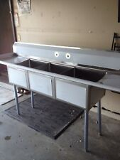 Stainless Steel 90 3 Compartment Sink With Drain Boards